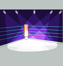 Flat boxing club ring with spotlight light vector