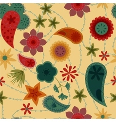 Flowers and paisley pattern retro vector image vector image