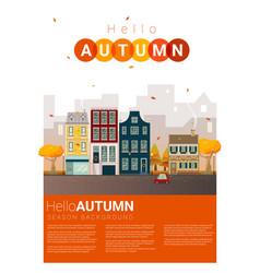 hello autumn cityscape background vector image
