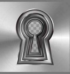 Keyholes in bright glossy metal plate on vector