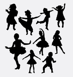 kid or children happy action silhouette vector image vector image