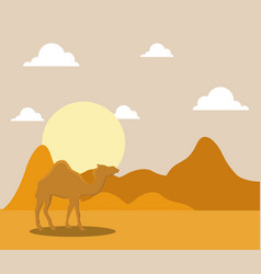 landscape of dry desert with camels vector image