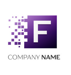 Letter f logo symbol in the colorful square with vector