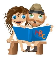 Naked man and woman reading book funny card vector
