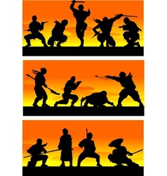 Ninja at sinrise vector