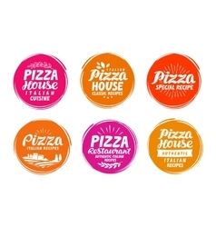 Pizza icons set Collection labels for menu design vector image vector image