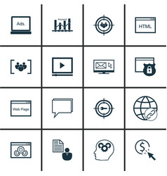 Set of 16 seo icons includes keyword marketing vector