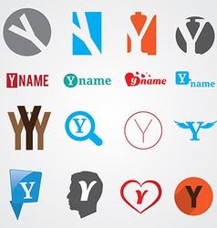 Set of alphabet symbols of letter Y vector image vector image