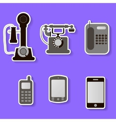 set of retro and modern telephones vector image