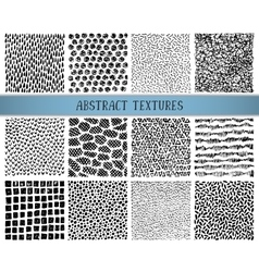 Set of twelve hand drawn ink abstract textures vector image vector image
