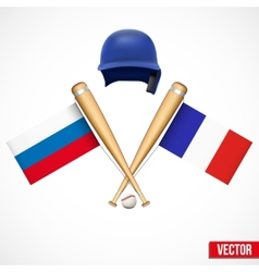 Symbols of baseball team russia and france vector