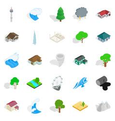 Terra icons set isometric style vector
