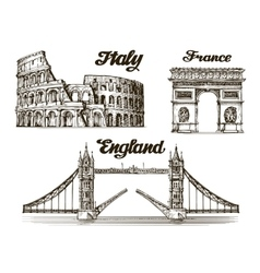 Travel Hand drawn sketch Italy France England vector image vector image