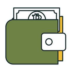 wallet with bitcoins icon vector image
