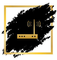 Wifi modem sign golden icon at black spot vector