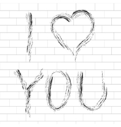 with I Love You lettering vector image