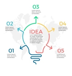 Light bulb infographic idea chart with 5 steps vector