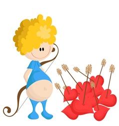 Cartoon Cupid with hearts vector image