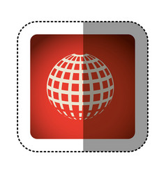 Sticker color square with globe earth icon vector