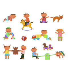 Infographic elements children play vector