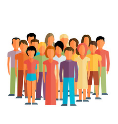 Flat of society members with a large group of men vector