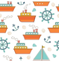 Boats and ships seamless pattern vector