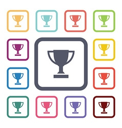 Winner cup flat icons set vector