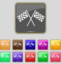 Race flag finish icon sign set with eleven colored vector
