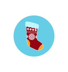 Icon christmas colorful sock vector