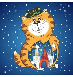 Winter Cat with City Inside vector image