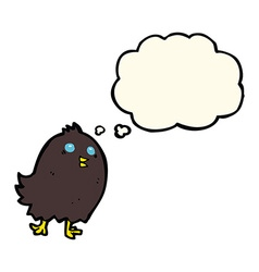 Cartoon spooky black bird with thought bubble vector