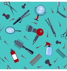 Barber and hairdresser tools seamless pattern vector