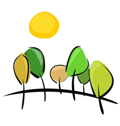 Trees on the hill at sunny day vector