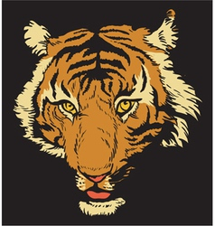 T-shirt design with raging tiger vector