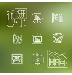 Set icons on a theme of economic crisis vector