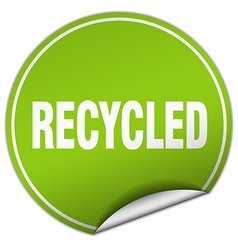 Recycled round green sticker isolated on white vector