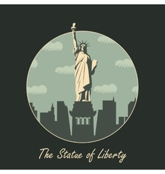 Statue of liberty in background of new york vector