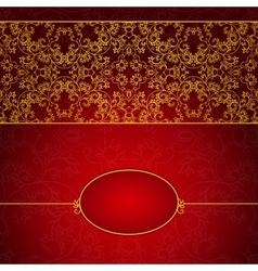 Abstract gold and red invitation frame vector image