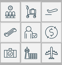 Airport icons set with luggage scanner stair lift vector