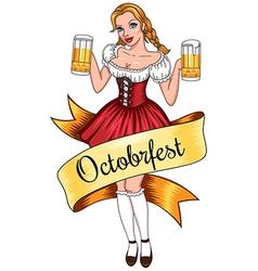 beer girl octoberfest vector image vector image
