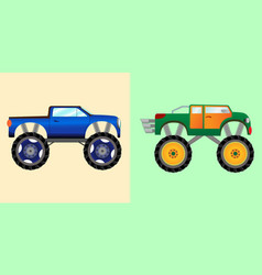 blue and green monster trucks vector image
