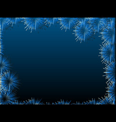 blue fireworks on blue background night sky vector image