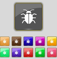 Bug virus icon sign set with eleven colored vector