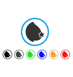 Censored female breast rounded icon vector