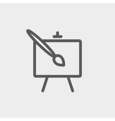 Chart and a paint brush thin line icon vector
