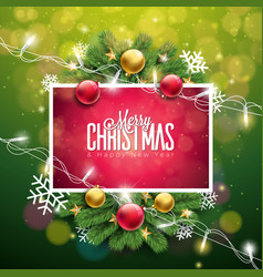 christmas on green background with vector image vector image