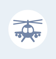 combat helicopter icon isolated over white vector image