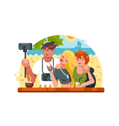 Company of friends making selfies vector