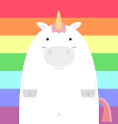 Cute fat big unicorn vector