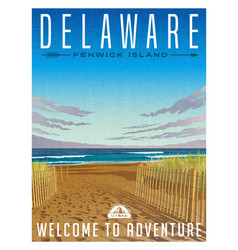 delaware united states travel poster vector image
